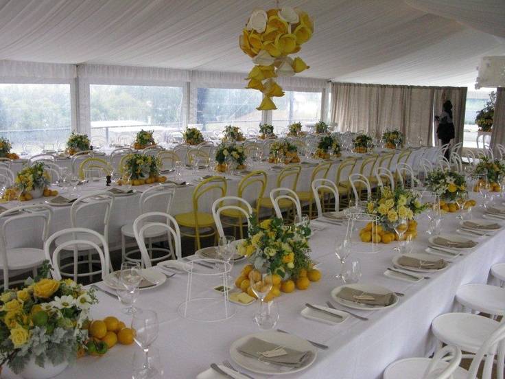 Wedding table decor, marquee, yellow & white inspiration