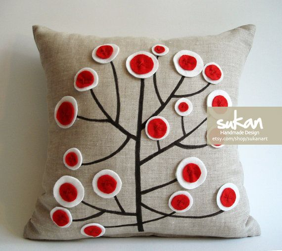 Sukan / Red White Tree Pen Pattern Raw Linen Pillow by sukanart, $43.00