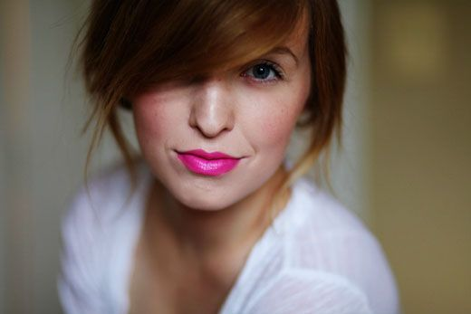 This is hot pink lipstick actually looking cute on someone. Not very often that I see Barbie pink look good.