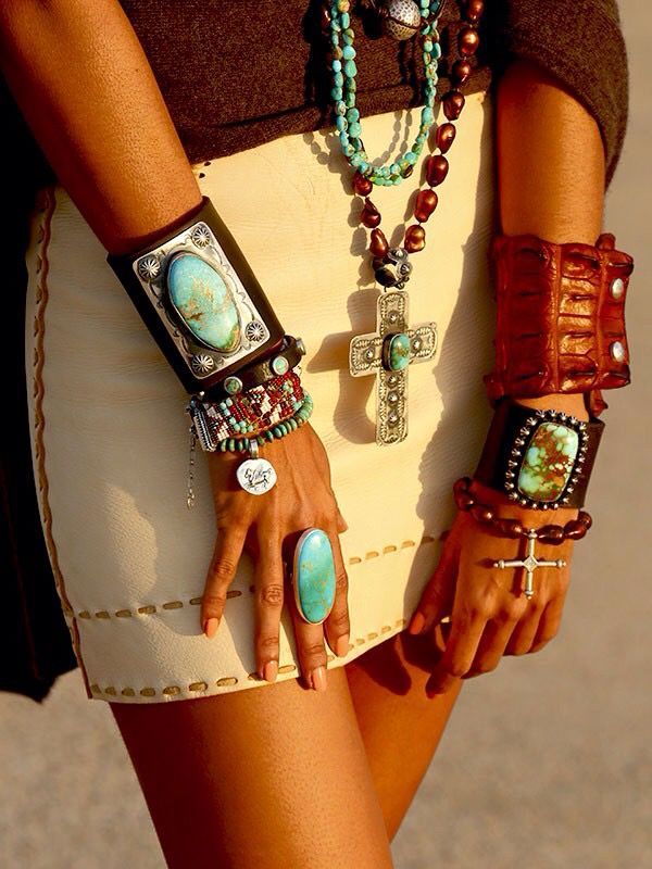 Leather skirt, and jewelry. Turquoise and brown shades.