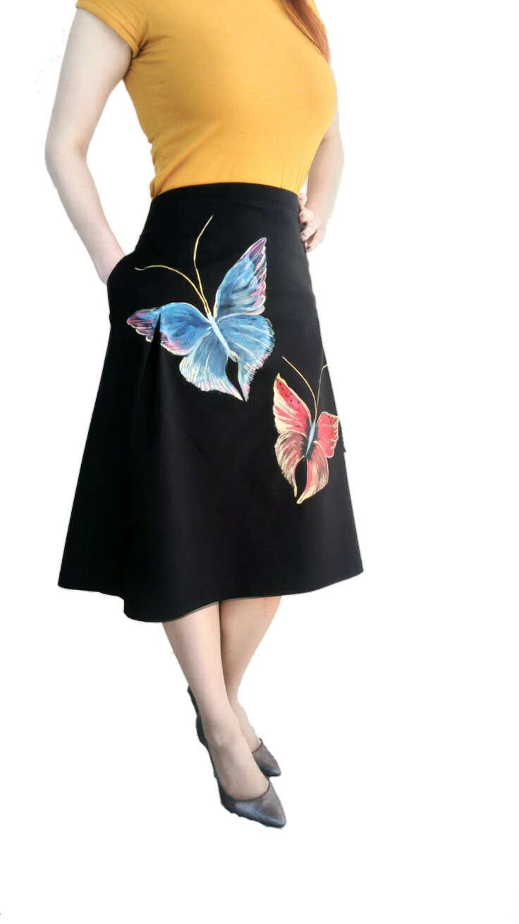 Womens Modest Pleated Skirt Custom made Skirt with  two beautifull Butterflys Pretty Black Skirt Handpainted Skirt one of a kind Skirt by DorasDressRoom on Etsy