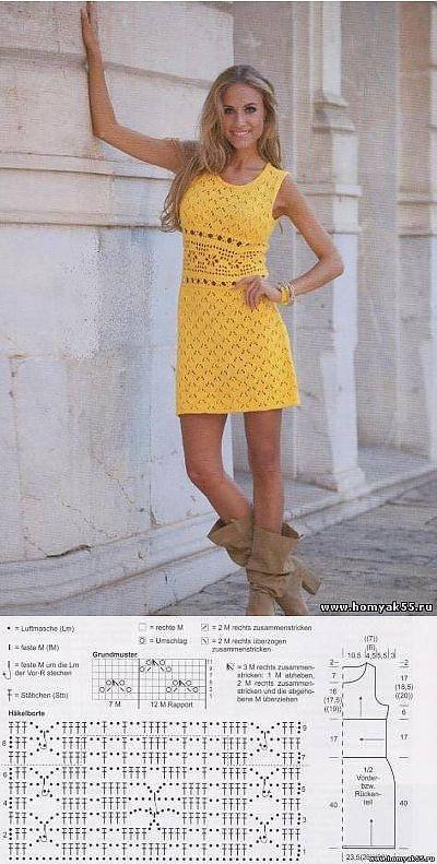 Мини-платье с ажурной планкой на талии | «Хомяк55.ру» сайт о вязании