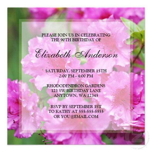 15 best 90th birthday invitation template images on pinterest 90th pink rhododendron flowers 90th birthday party invitation filmwisefo