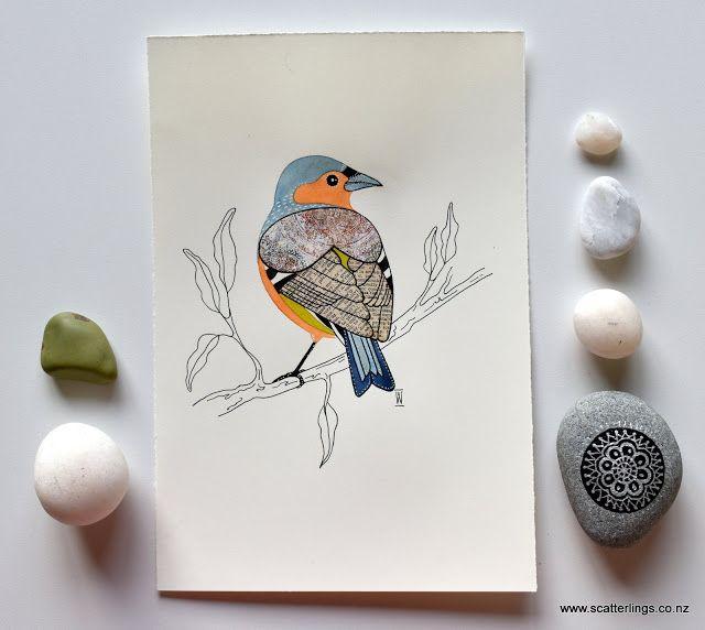 Painting of a Chaffinch - little garden bird