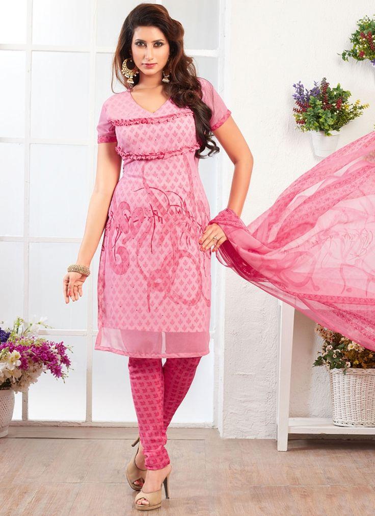 Compelling Pink Print Work Churidar Suit
