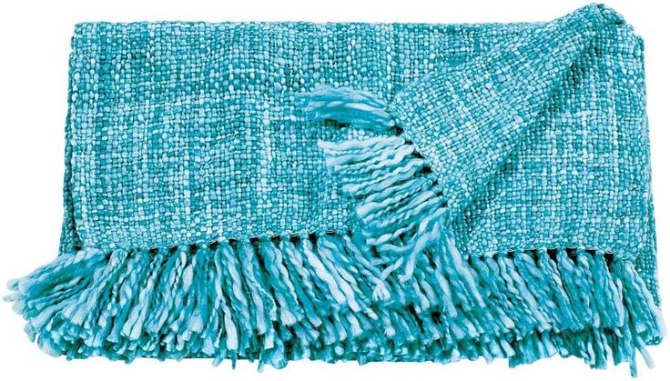 Mina Victory Throw Basket Weave Throw Turquoise Throw Blanket