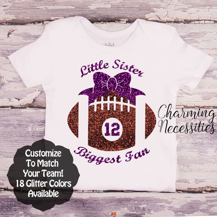 Little Sister Biggest Fan - Football Sister with Football and Jersey Number SS - Football Sister - Personalized Custom Colors Baby Toddler Girl Fan Top, Little Sister Shirt, Coming Home - Charming Necessities