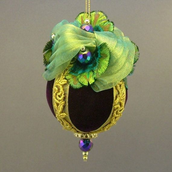 """Flights of Fancy"" by Towers and Turrets - Plum Purple Velvet Ball Christmas Ornament with Peacock Feathers - Victorian Inspired, Handmade by Towers and Turrets Ornaments"