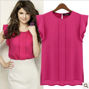 2013 hot Fashion Women Chiffon Shirts Blouse OL Ladies' Round Collar Short Butterfly Petal Sleeve Ruffles Tops xxl blouses