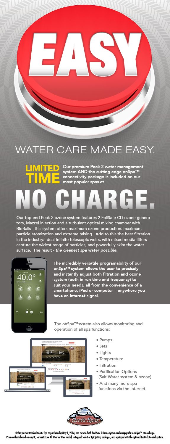 Arctic Spas Easy Event. Peak 2 Water Management System and onSpa Connectivity Pkg included on most popular spas at no charge. Ends May 1 2014.