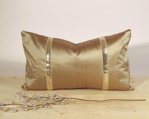 Holiday Decor Lumbar Pillow Cover Bolster Dupioni Silk