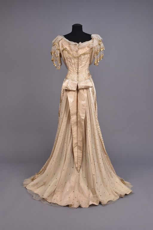 20e5c4642424 LOT 553 SILK EVENING DRESS with GOLD BEADS, 1880s - whitakerauction ...