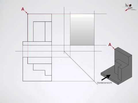 Technische Zeichnung – 3 Ansichten, Seitenansicht erstellen   – technical drawin…