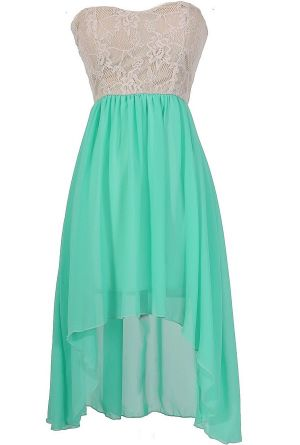 Trista Strapless Lace and Chiffon High Low Dress in Mint ans White Lace #mint #sweetheart #strapless #lace #dress #wedding #event #summer #fashion