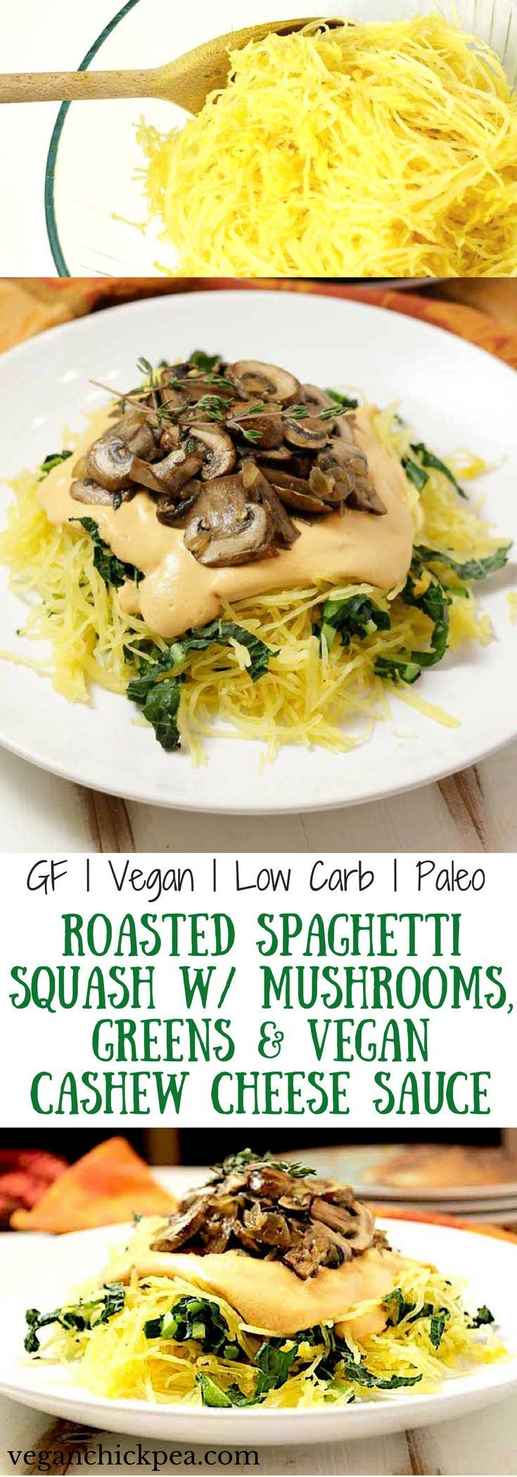 Roasted spaghetti squash is the perfect healthy, low carb, satisfying meal for Fall. Pair it with a creamy vegan cashew cheese sauce, superfood stars mushrooms and kale or spinach, and you've got a vegan, gluten free and paleo meal that you'll want to enjoy again and again!