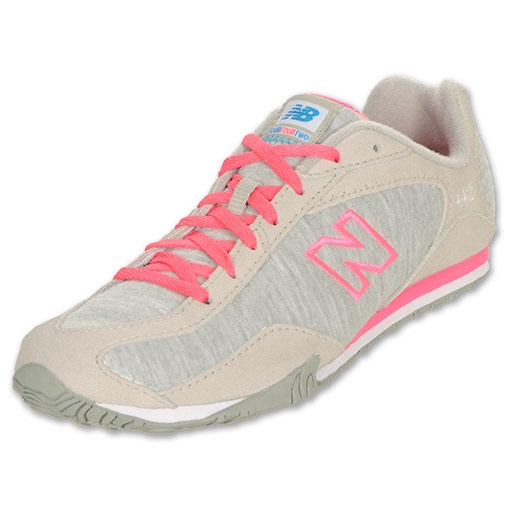new balance womens 442 casual athletic shoe - grey/pink