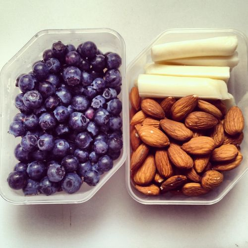 healthy snacking (blueberries, almonds, cheese)