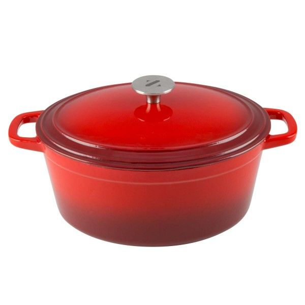 Zelancio Enameled Cast Iron Dutch Oven w/ Lid (6 Quart, Oval, Red) - Cast Iron Cookware - Kitchen and Dining