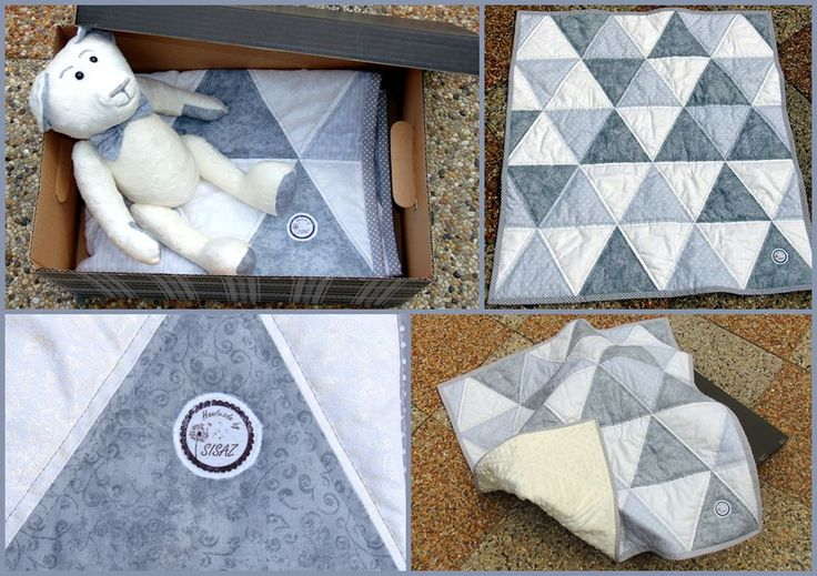 Patchwork triangle blanket and handmade minky teddy bear