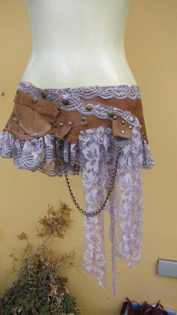 BURNING MAN...leather mini skirt belt/ with pocket,lace and stud detail....3 to4 day EXPRESS 30 dollars