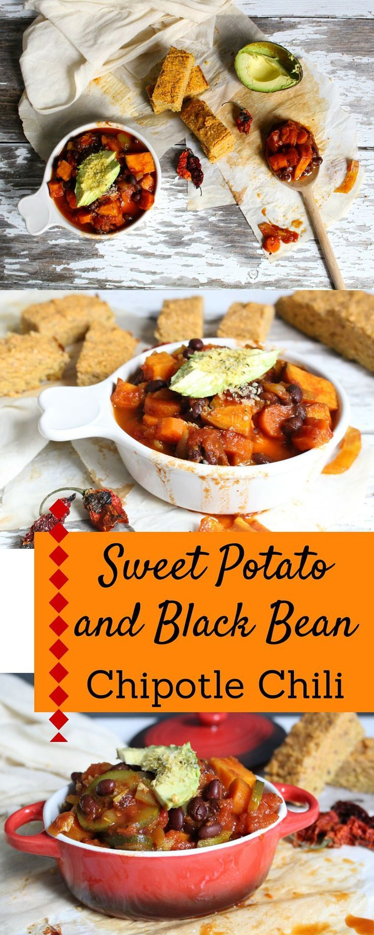 Sweet Potato and Black Bean Chipotle Chili and a recipe for lentil cornbread. Healthy, vegan and great for a mid-week dinner!