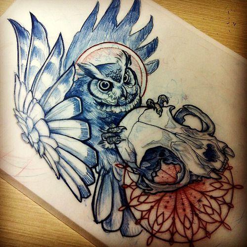 Teniele Sadd's Owl Tattoo Design