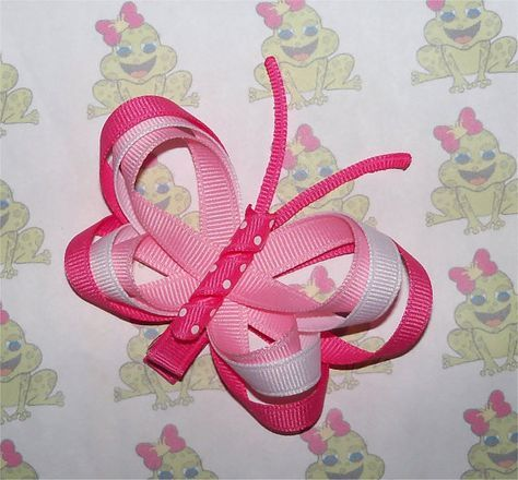 Pinza de pelo mariposa rosa escultura de cinta
