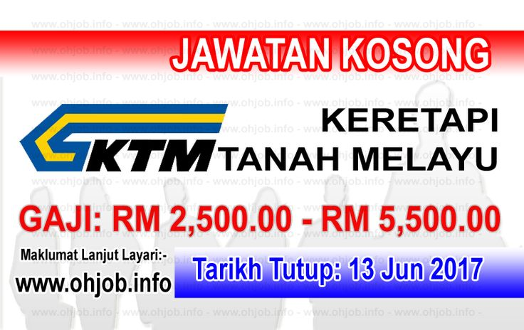 Jawatan Kosong KTMB - Keretapi Tanah Melayu Berhad (13 Jun 2017)   Kerja Kosong KTMB - Keretapi Tanah Melayu Berhad  Permohonan adalah dipelawa kepada warganegara Malaysia bagi mengisi kekosongan jawatan di KTMB - Keretapi Tanah Melayu Berhad seperti berikut:- 1. Senior Manager - Advertising  Tarikh Tutup Permohonan:- 13 Jun 2017 Pemohon yang berminat adalah dipelawa untuk menulis dalam bersama-sama dengan resume terperinci gaji sekarang dan dijangka nombor telefon dan tidak boleh…