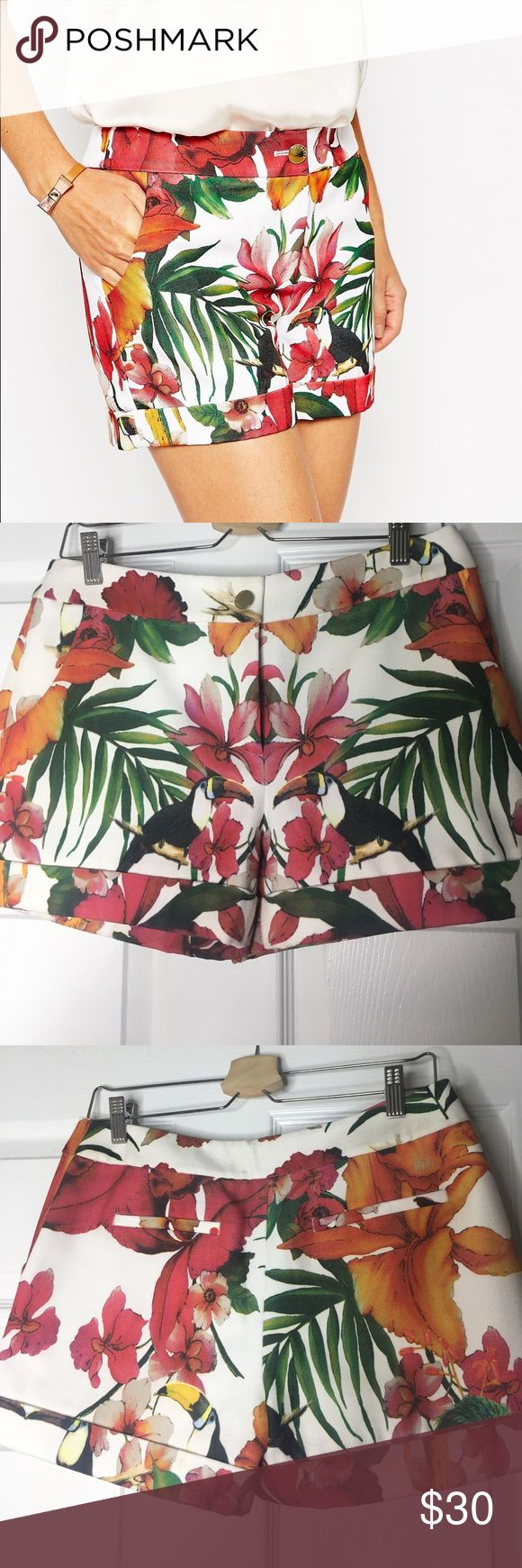 Ted Baker Toucan Shorts Ted Baker Tropical Toucan Shorts. Only worn once! Mid Rise shorts! Comes with pockets! Ted Baker size 2 is equivalent to a US size 6. Ted Baker Shorts