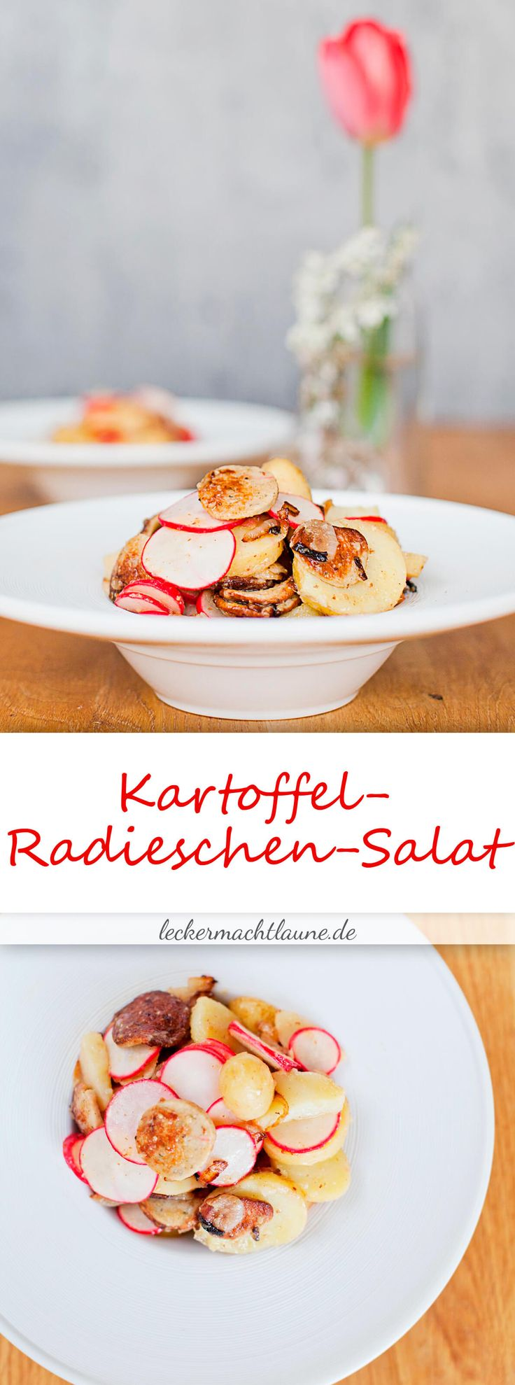 Im Prinzip eine Art bayrisches Frühstück als Salat: Lauwarmer Kartoffel-Radieschen-Salat mit Weißwurst :D