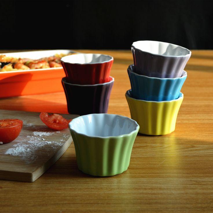 6 компл. цвет керамической миске печь для выпечки желе карамельный пудинг жареные чашки креманка мини кокотки купить на AliExpress