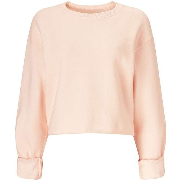Miss Selfridge Nude Cropped Sweatshirt found on Polyvore featuring tops, hoodies, sweatshirts, sweaters, nude, crop top, pink crop top, long sleeve cotton tops, pink top and cotton crop top