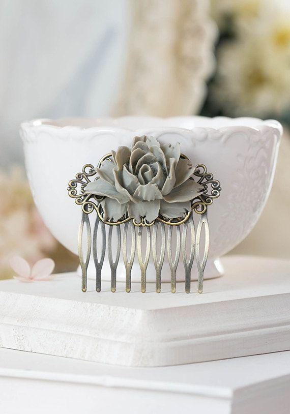 Grey Rose Flower Hair Comb Gray Grey Wedding Hair by LeChaim