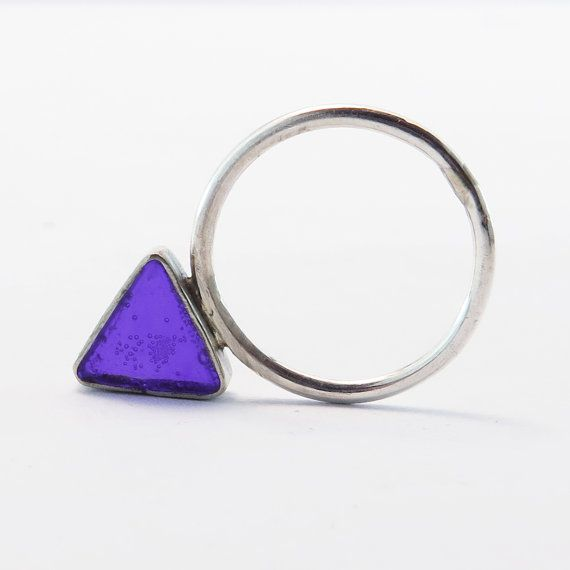 Colorful Geometric Silver Ring Simple stacking by ALKISTIjewelry