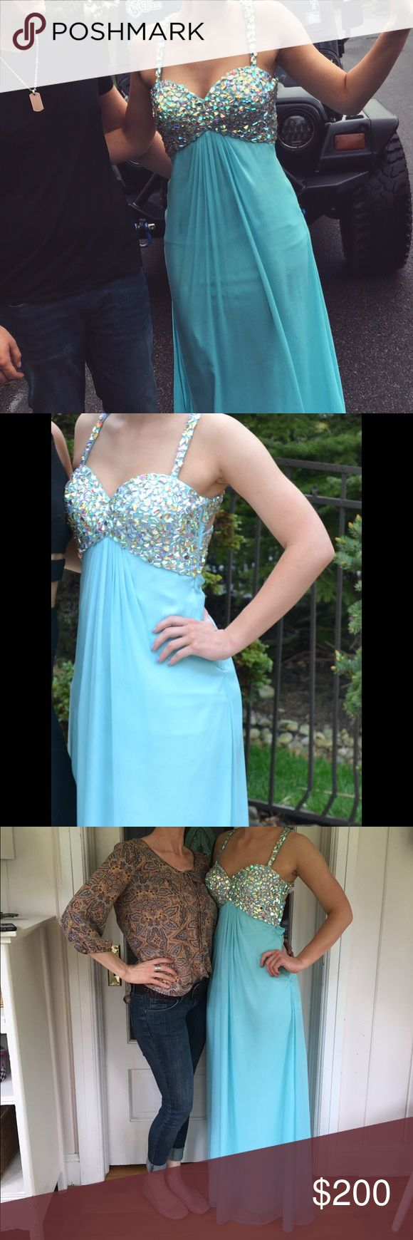 La Femme 18841 Prom Dress Beautiful tiffany blue prom dress with beading and an elegant back. Perfect for prom or any formal event, only worn once & willing to negotiate price :) La Femme Dresses Prom