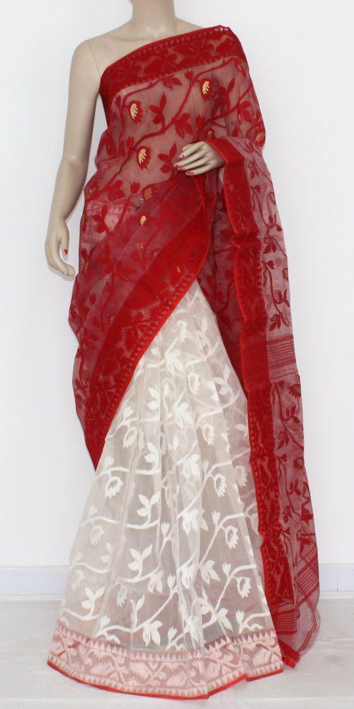 Red White Handwoven Bengali Tant Kora Cotton Jamdani Saree (Without Blouse) Half-Half 17212