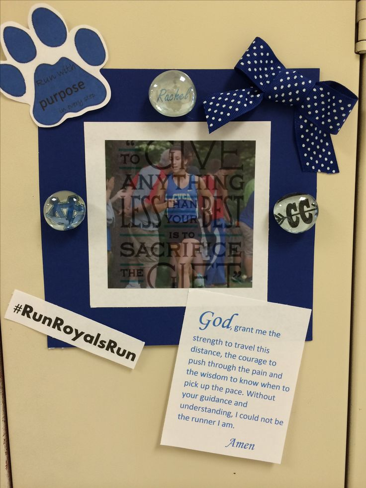 Locker decoration for high school girls cross country team with spirit magnets.