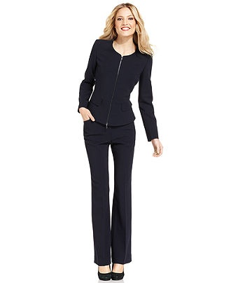 Anne Klein Petite Suit, Collarless Zip-Front Jacket & Pants - Womens Petite Suits & Separates - Macy's