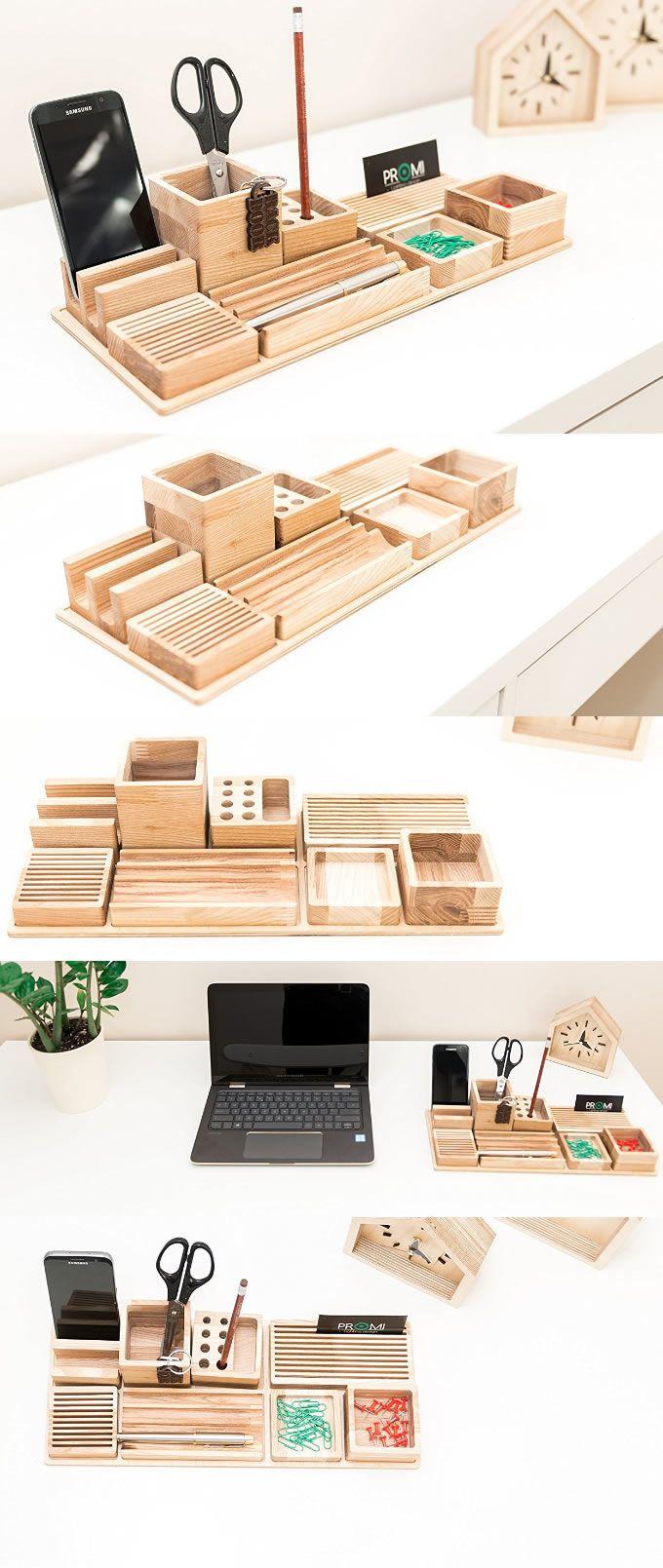Bamboo Wooden Office Desk Organizer Pen Pencil Holder Stand Smart