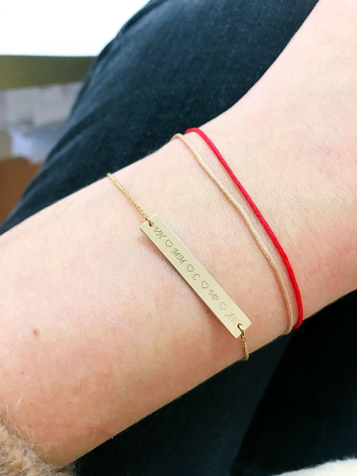Simplicity. Golden bar bracelet. Bratara cu placuta gravata din aur. Tiny bracelet