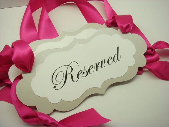 Wedding Decor Signage Ceremony Pew Signs for your Reserved Wedding Seating During Your Wedding Ceremony Prepared in your Wedding Colors on Etsy, $9.00