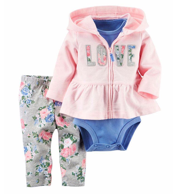 Carter's Baby Girls 3 Pc Floral Love Cardigan, Bodysuit & Pants Set NWO 3 Months #Carters