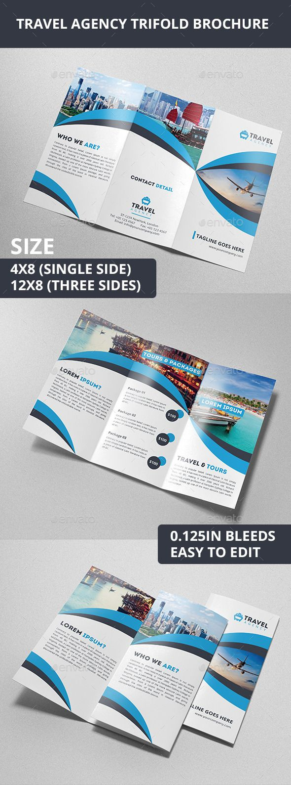 Travel Agency Trifold Brochure AI Template • Download ➝ https://graphicriver.net/item/travel-agency-trifold-brochure/10338029?ref=pxcr