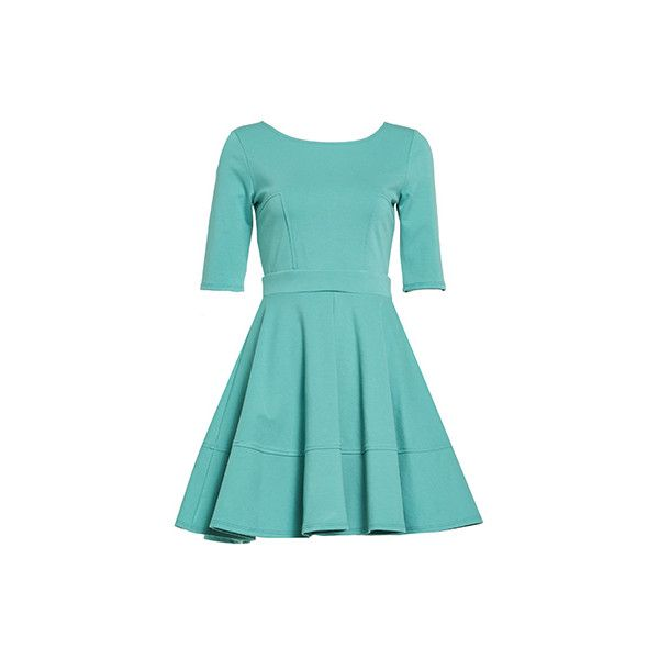 DAILYLOOK Pleated Fit and Flare Dress (25 CAD) ❤ liked on Polyvore featuring dresses, blue dress, blue short sleeve dress, short-sleeve dresses, blue strapless dress and petite cocktail dress