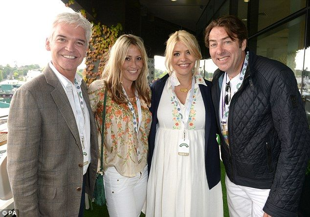 Philip Schofield, Natalie Appleton, Holly Willoughby, and Jonathan Ross    at Wimbledon #dailymail
