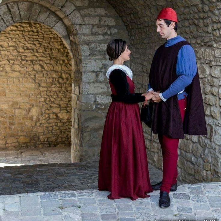 15th century clothes. Renaissance dress (my gf with gamurra and myself with giornea farsetto and hoses). All made by me and her.