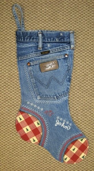 DIY Blue jean Christmas stocking tutorial    Christmas Stocking Fun    In October our quilt guild had a program on using old denim blue jeans to make Christmas stockings. They were so cute and looked easy to make so I decided to make them for our whole family and hang them on our fireplace this Christmas. This first one is the one I made for John..