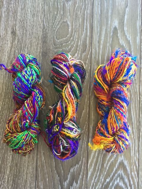 Recycled Sari Silk Yarn - Multi Color for felting, spinning and knitting. by NickelbeeArtStudio on Etsy