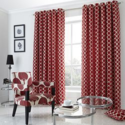 Chenille Circles (Oh) Eyelet Curtains - Red