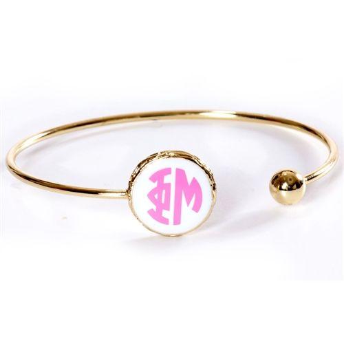 Phi Mu Sisterhood Bracelet. www.sassysorority.com. #PhiMu #sisterhood #armcandy #stack #Big #Little #BigSis #LilSis #love #BidDay #bracelet #monogram #sassysorority #phimujewelry